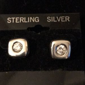 Jewelry - CZ diamond earrings framed in sterling silver
